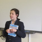 Hannah speaking out her business venture of selling books